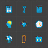 Modern colorful flat social icons set on Dark Stock Images