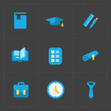 Modern colorful flat social icons set on Dark Royalty Free Stock Photo