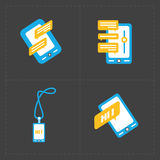 Modern colorful flat social icons set of Royalty Free Stock Photos