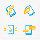 Modern colorful flat social icons set Stock Photo