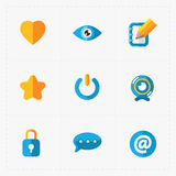 Modern colorful flat social icons set Royalty Free Stock Images