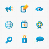 Modern colorful flat social icons set on White Royalty Free Stock Image