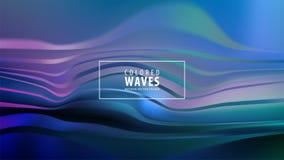 Modern colorful flow poster. Wave Liquid shape in blue color background. Art design. Vector illustration. stock illustration