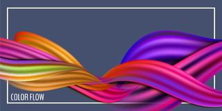 Modern colorful flow poster. Wave Liquid shape in blue color background. Art design for your design project. Vector royalty free illustration