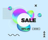 Modern colorful fluid and memphis elements, Sale banner, template design with glitch text effect. Trendy template for design party royalty free illustration