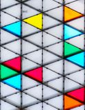 Modern and colorful glass roof. With triangular pattern stock images