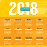 2018 Modern Colorful Graphic Printable Calendar Starts Sunday Stock Photography