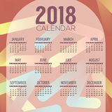 2018 Modern Colorful Graphic Printable Calendar Starts Sunday Stock Photo