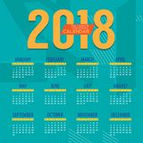 2018 Modern Colorful Graphic Printable Calendar Starts Sunday Royalty Free Stock Photos