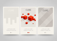 Modern colorful horizontal banners with square motive. Cubes and squares. Stock Photos