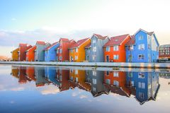 Modern Colorful houses and blue sky background Stock Photos