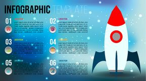 Modern colorful infographics options template  with flat s. Paceship on blured background. EPS10 Stock Photo