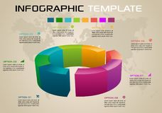 Modern colorful infographics options template vector with 3D diagram on ochre background. EPS10 vector illustration