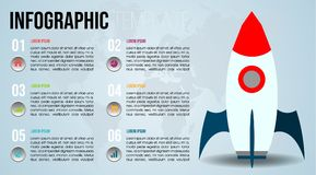 Modern colorful infographics options template vector with flat s. Paceship and world map. EPS10 Royalty Free Stock Image