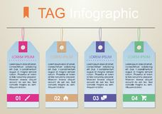 Modern colorful infographics options template vector with colorf. Ul tags on light brown background. Can be used for web design, brochure, presentations and Stock Photo