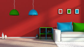 Modern colorful interior with sofa Royalty Free Stock Photography