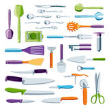 Modern colorful kitchen equipment. And tools vector collection stock illustration