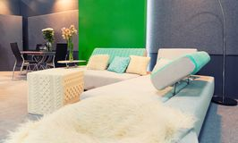 Modern colorful living room - home decor Stock Photos