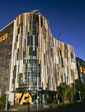 Modern colorful louvered waving facade and inverted funneled roof of ASB Bank Headquarters, North Wharf Wynyard Quarter, Auckland stock photo