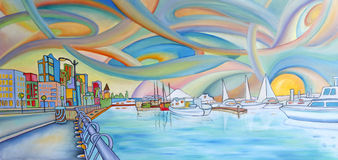 Modern colorful painting of Seattle city. Royalty Free Stock Photo