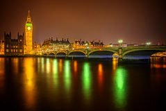 Modern colorful photo of Parliament with Big Ben and Westminster Bridge Royalty Free Stock Photo
