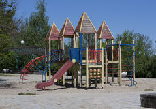 Modern colorful playground without children ground outdoor Stock Image