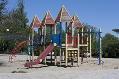 Modern colorful playground without children ground photo Royalty Free Stock Images
