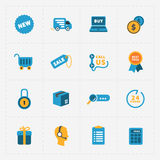 Modern colorful shop icons on black Royalty Free Stock Photography