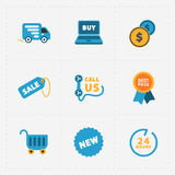 Modern colorful shop icons on black Royalty Free Stock Image