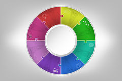 Modern colorful 8 steps timeline infographics in jigsaw shape. E Royalty Free Stock Photo