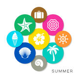Modern colorful summer icons Royalty Free Stock Photography