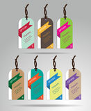 Modern colorful tags and hanging labels design with sample text, Royalty Free Stock Image