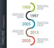 Modern colorful template business concept timeline zigzag. Infographics layout with 5 steps, parts, options, stages, for. Presentation Royalty Free Stock Photography