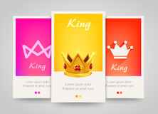 Modern colorful vertical banners with crown signs. Stock Images