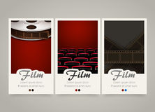 Modern colorful vertical cinema banners. Film, movie flyer or invitations. Royalty Free Stock Photos