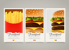 Modern colorful vertical fastfood banners. Food flyer set. Royalty Free Stock Image