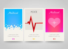Modern colorful vertical medical banners. Abstract flyer set. Medicine background. Stock Photography