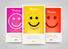 Modern colorful vertical smiling face banners. Happy flyer set. Royalty Free Stock Photos