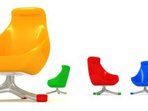 Modern Colorized Chairs on white Stock Images