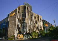 Modern colourful louvered waving facade of ASB Bank Headquarters, North Wharf Wynyard Quarter, Auckland, New Zealand stock photo