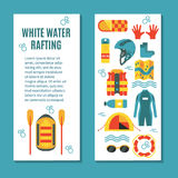 Modern colourful vertical flyer for rafting club or sport team. Colourful vertical banner template for white water rafting with patterned backside and place for Stock Image