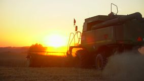 Modern combine harvester gathers wheat crop in field at sunset. Combines working in field. Food industry, Harvest wheat