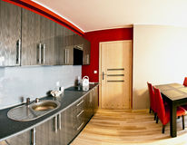 Combined kitchen and dining room Royalty Free Stock Photography