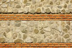 Modern Combo Masonry With Natural Stones And Bricks Texture Royalty Free Stock Image