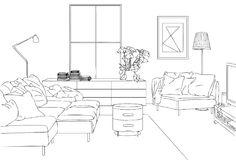 The Modern and Comfort Family Room Vector Line Art Illustration. The Modern and Comfort Family Room Vector and Line Art Illustration for many purpose such as put Stock Image