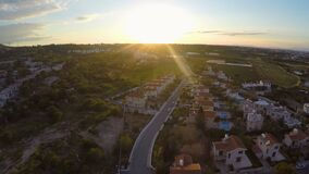 Modern comfortable apartments and cottages for rent or sale in Cyprus, aerial stock video footage