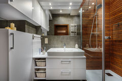 Modern and comfortable bathroom. In stylish apartment Stock Images