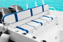 Modern comfortable boat. At sea resort Stock Images