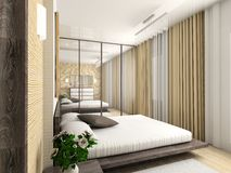 Modern comfortable interior. Modern interior. 3D render. Bedroom. Exclusive design stock illustration