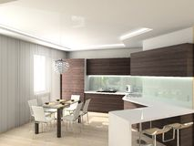 Modern comfortable kitchen. 3D render. Hi-tech design stock photos